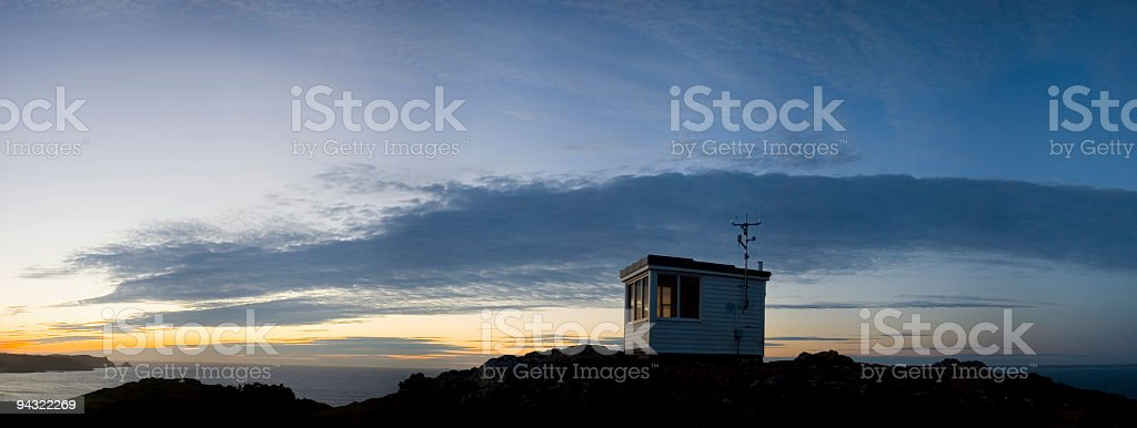 Lifeguard's hut and weather station royalty-free stock photo