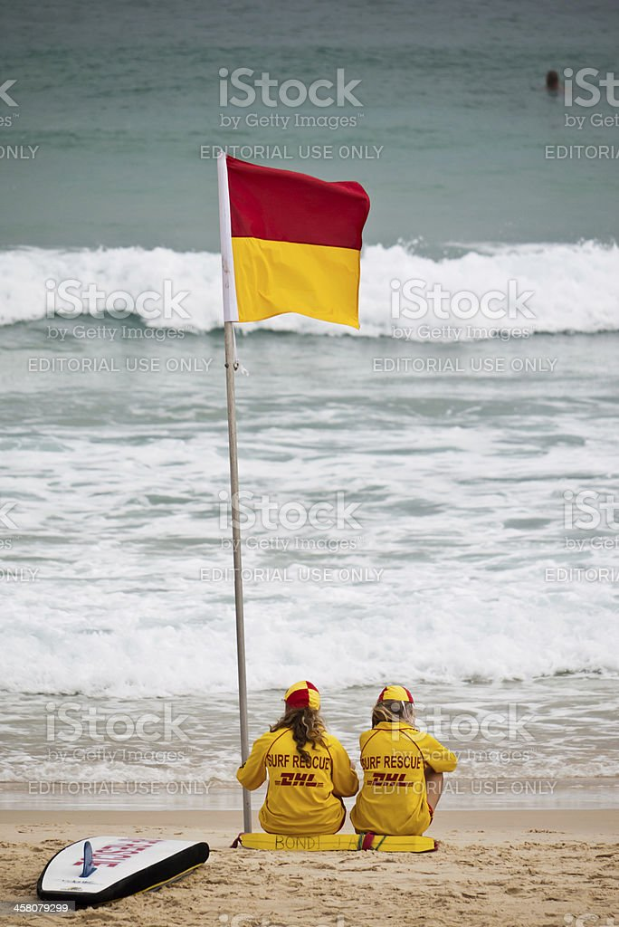 Lifeguards on Bondi Beach stock photo