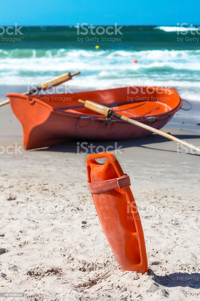 Lifeguard's rescue equipment ready on beach stock photo