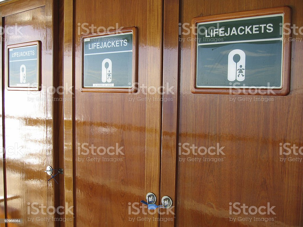 lifejacket cabinets royalty-free stock photo