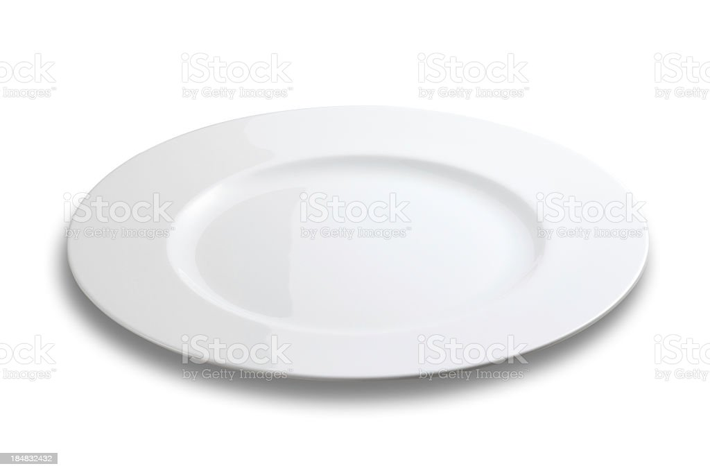 Lifeless plate on white background stock photo