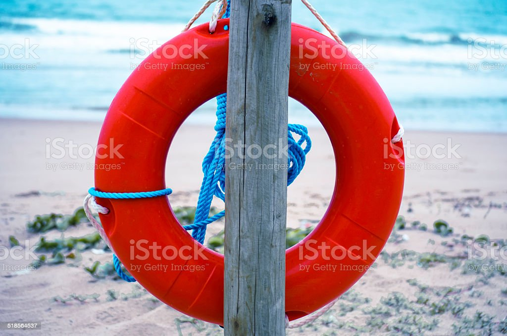 lifering at beach stock photo