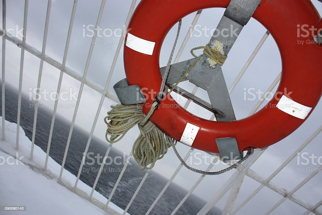 Lifering on the ferry board. stock photo