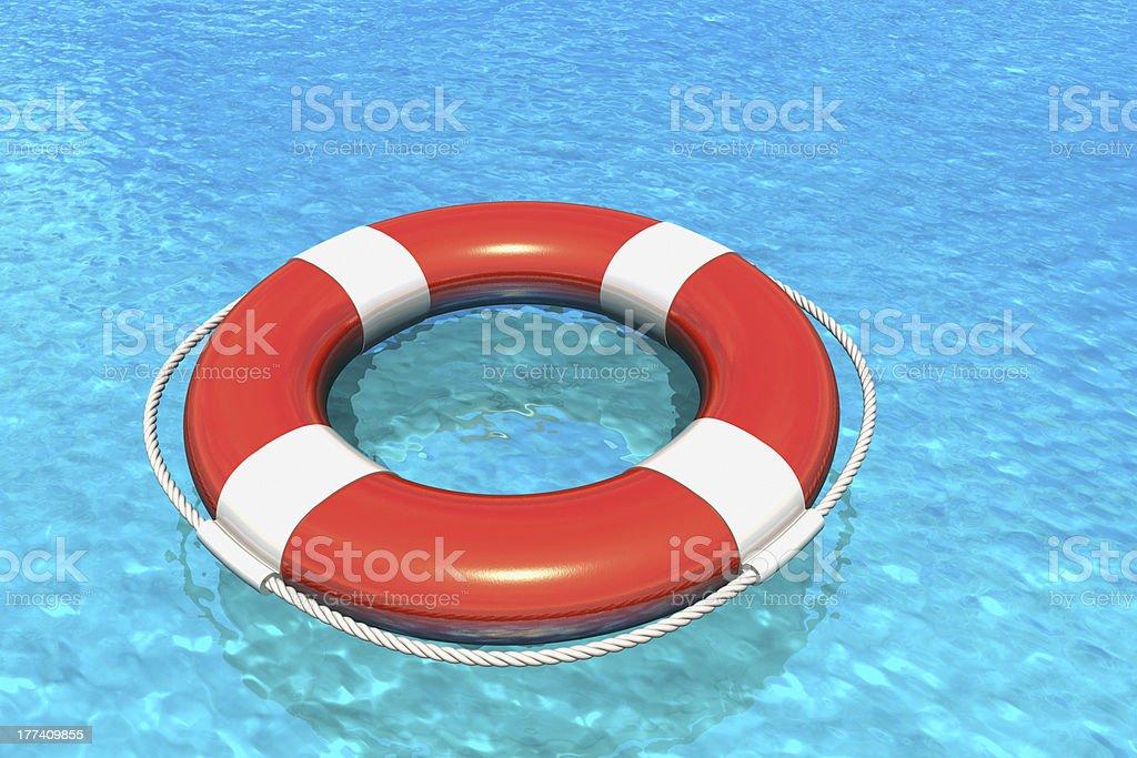 Lifesaver belt in water stock photo