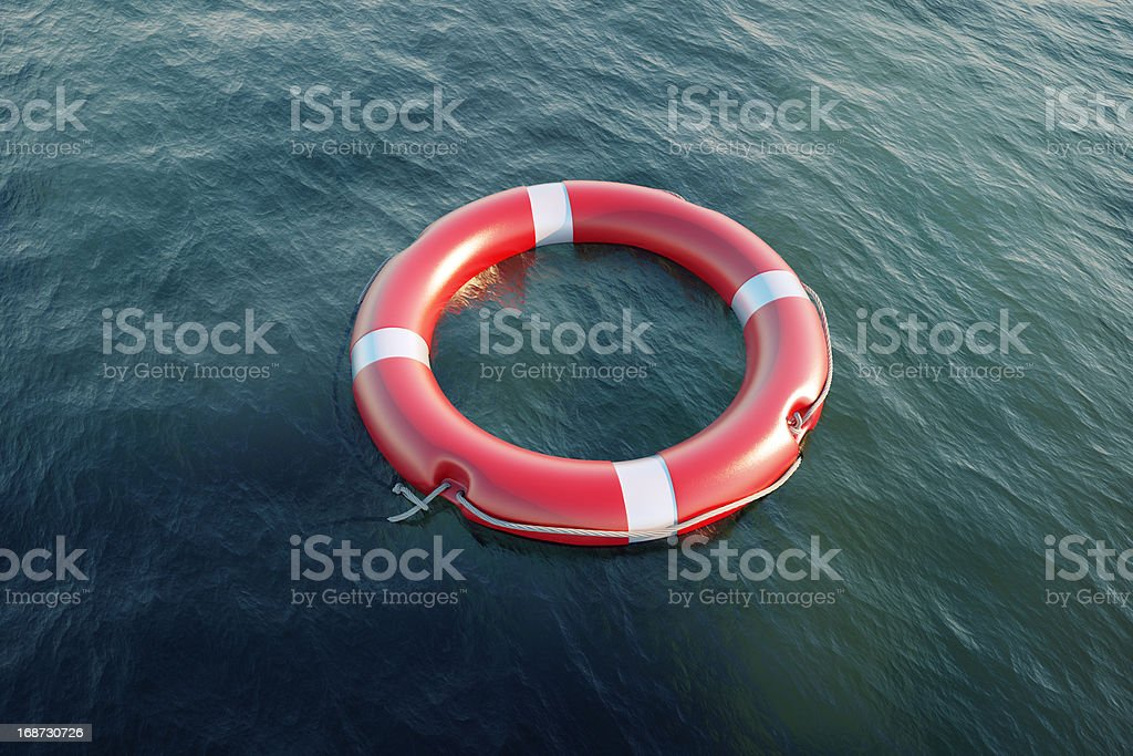 Lifesaver in the sea royalty-free stock photo