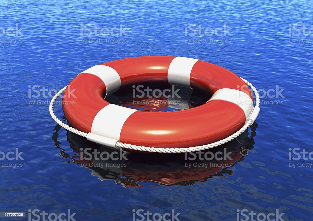 Lifesaver in water royalty-free stock photo