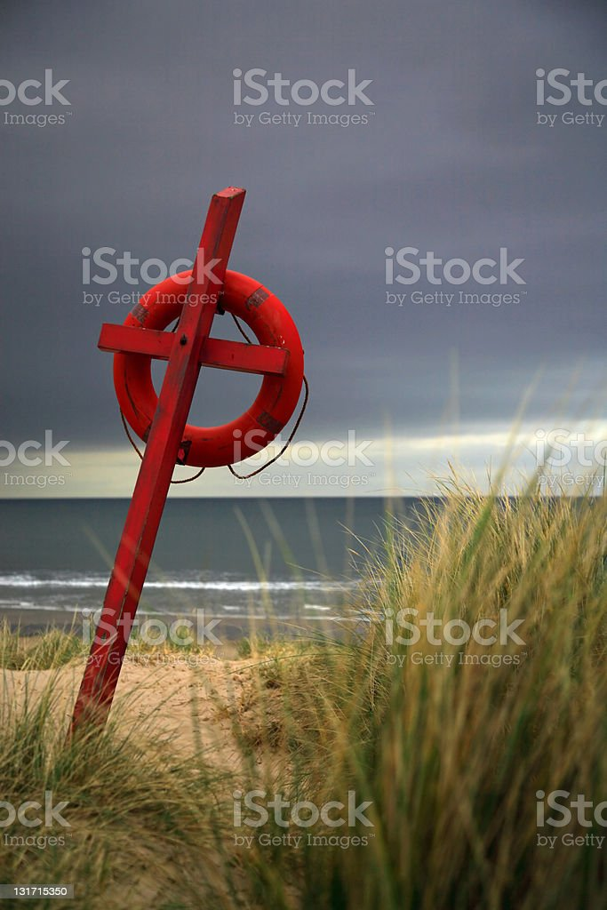 Lifesaver on the beach royalty-free stock photo