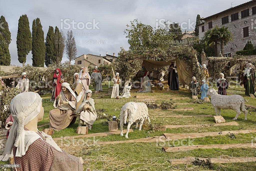 Life-sized nativity scene, Assisi, Umbria Italy royalty-free stock photo