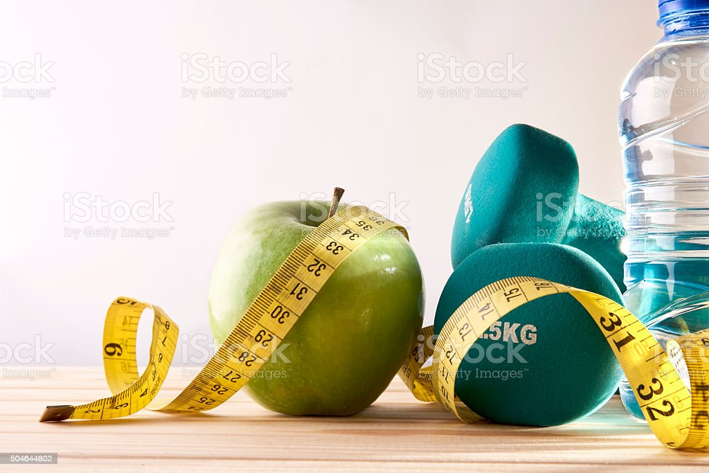 Lifestyle health diet and sports isolated background front view stock photo