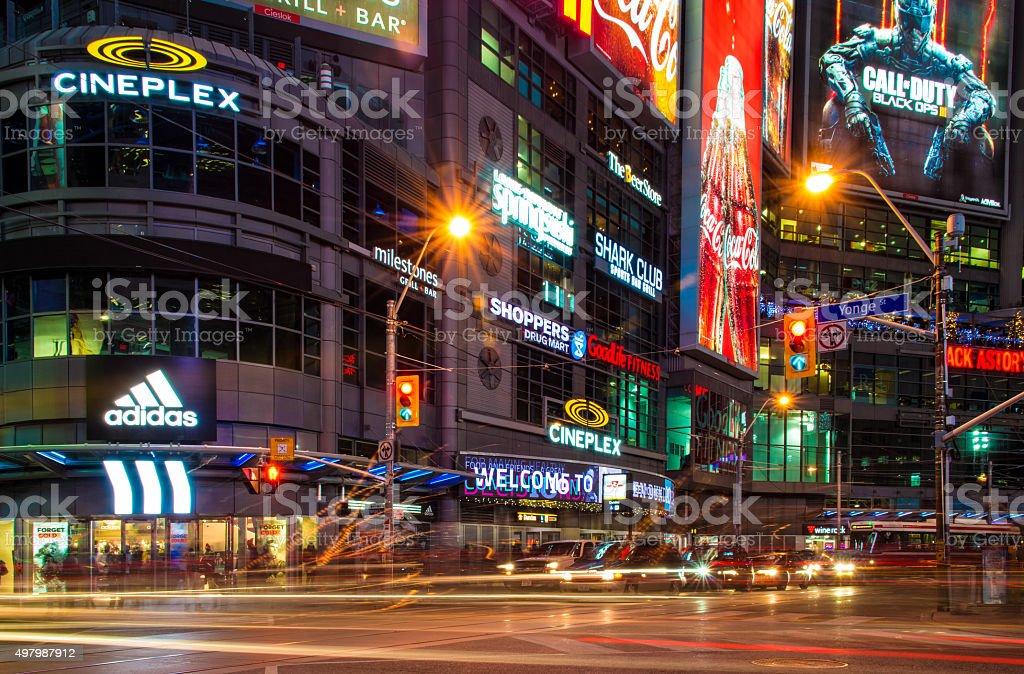 Lifestyle in Dundas Square at Night, Toronto stock photo