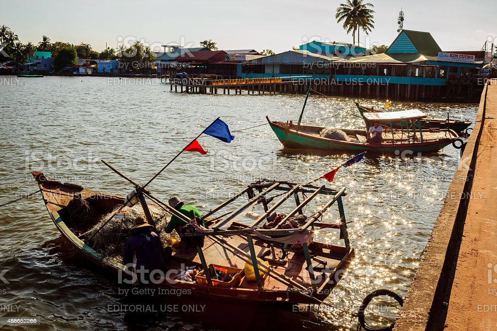 Lifestyle of fisher men in Ham Ninh village stock photo