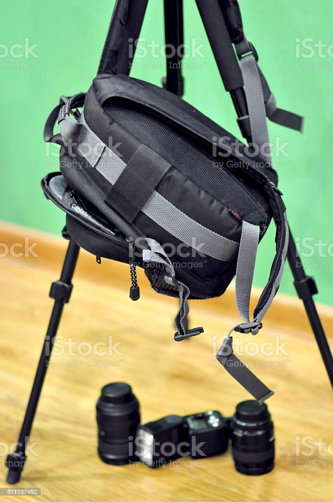 lifestyle, photographic equipment, backpack for camera stock photo