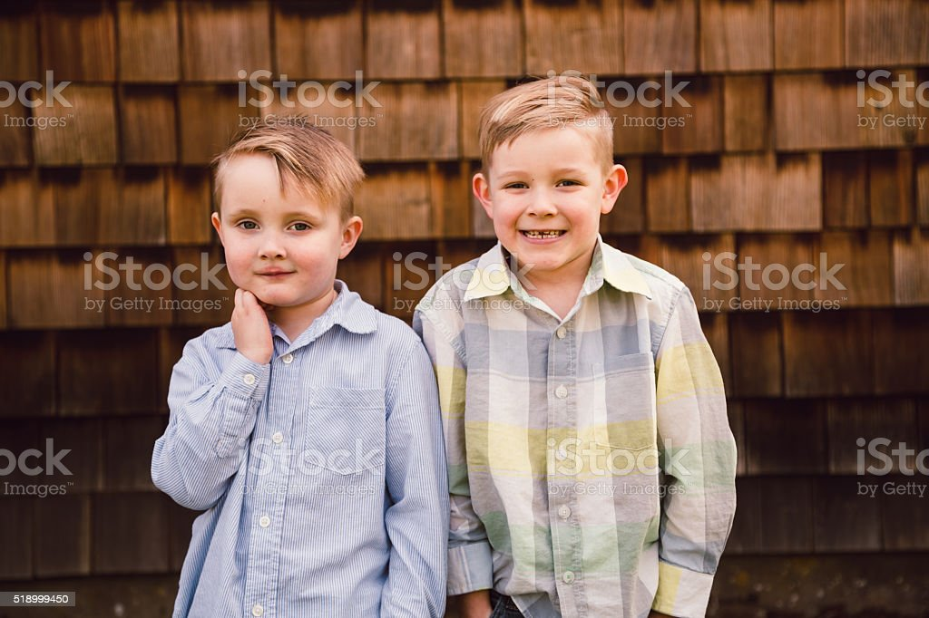 Lifestyle Portrait Brothers Outdoors stock photo