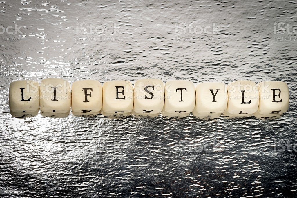 Lifestyle word on a wooden cubes stock photo