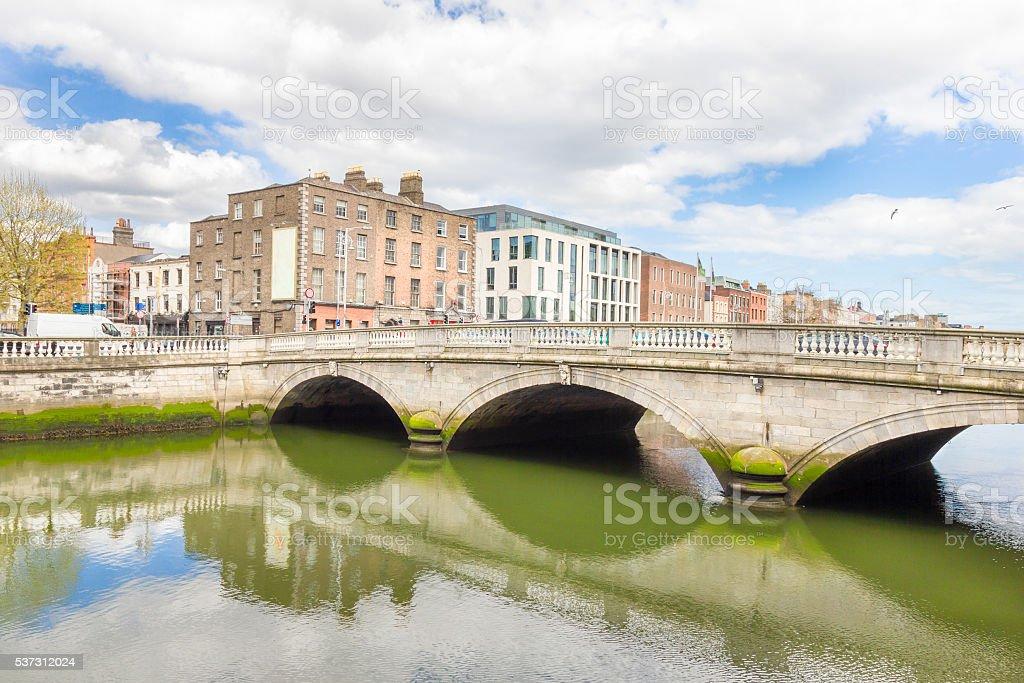 Liffey river bank in Dublin, Ireland stock photo