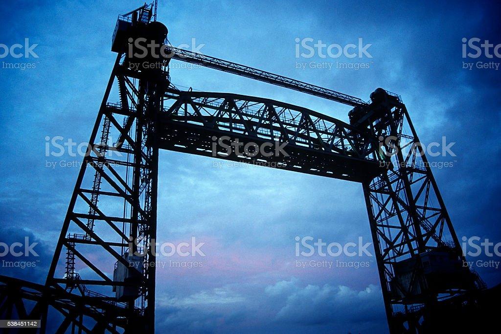 Lift bridge against cloudy sky stock photo
