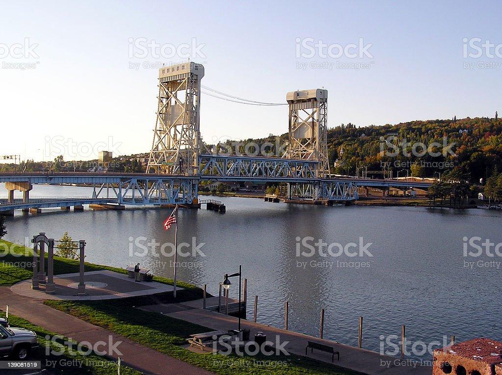 Lift bridge between Houghton and Hancock, Michigan royalty-free stock photo