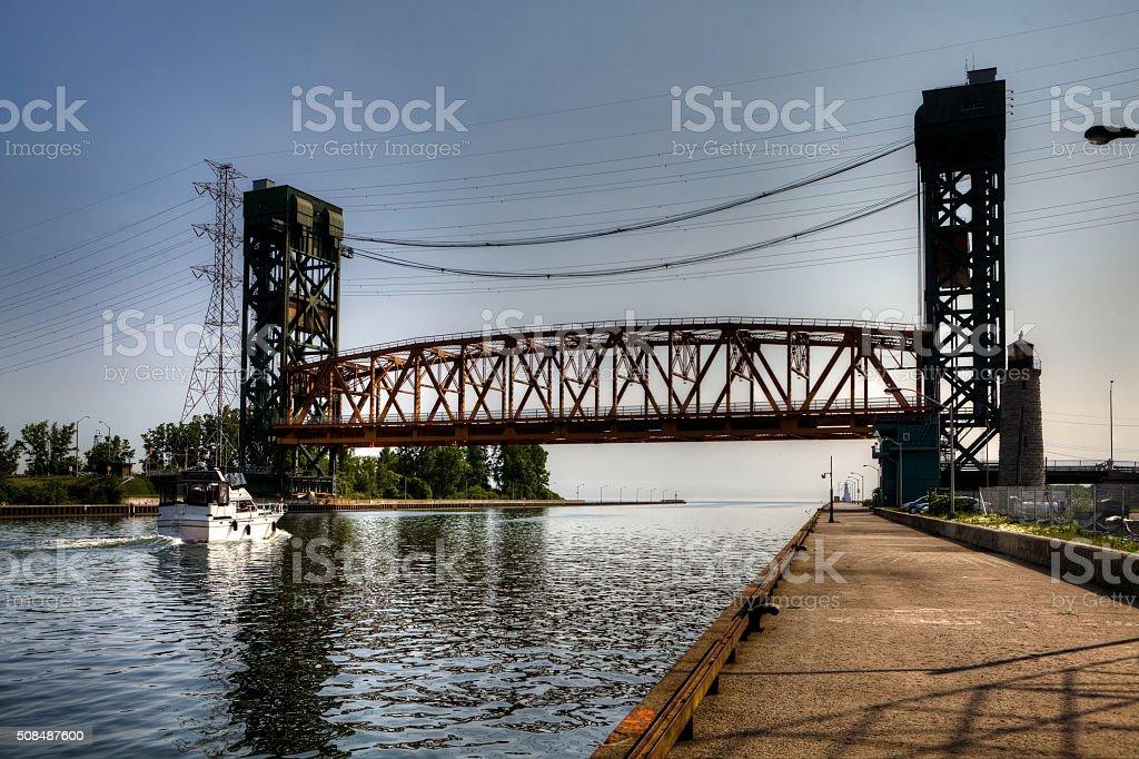 Lift bridge over a ships canal stock photo