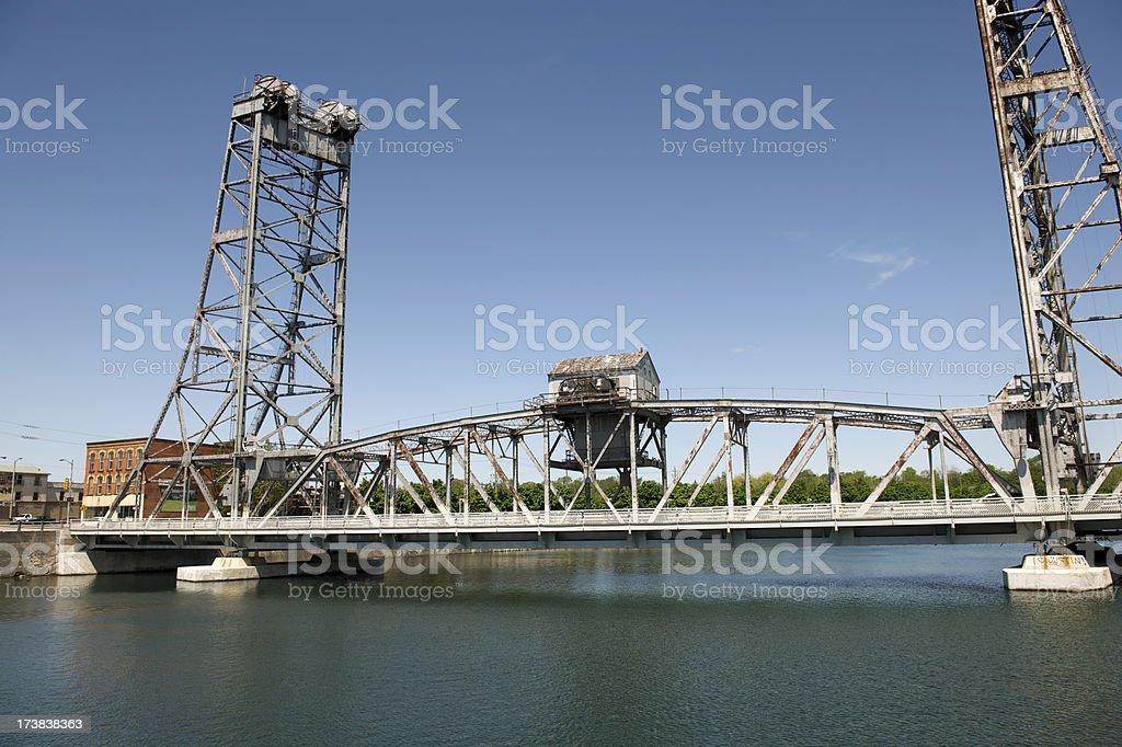 Lift Bridge over Canal stock photo