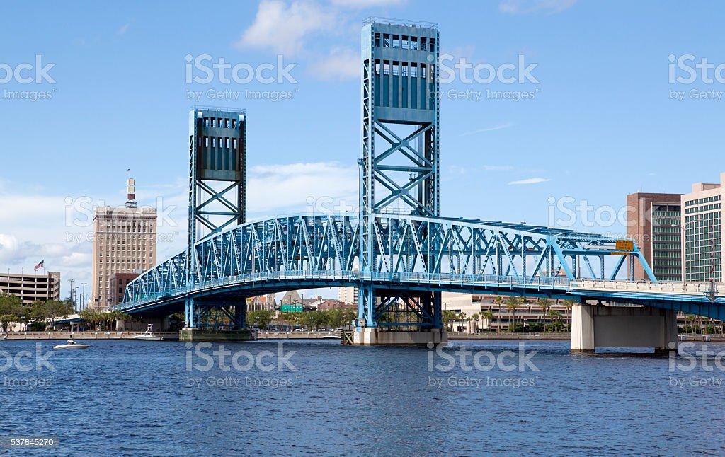 Lift Bridge over the St John River Jacksonville, Florida stock photo
