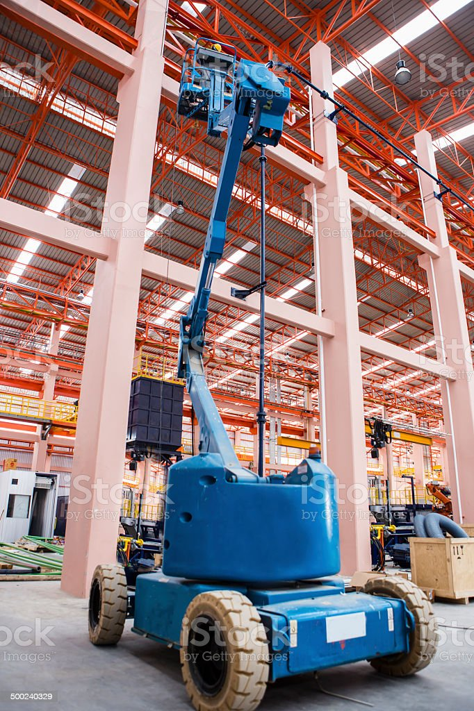 Lift buckets in factory stock photo