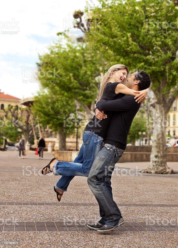 Lift Hug - Happy European Couple royalty-free stock photo
