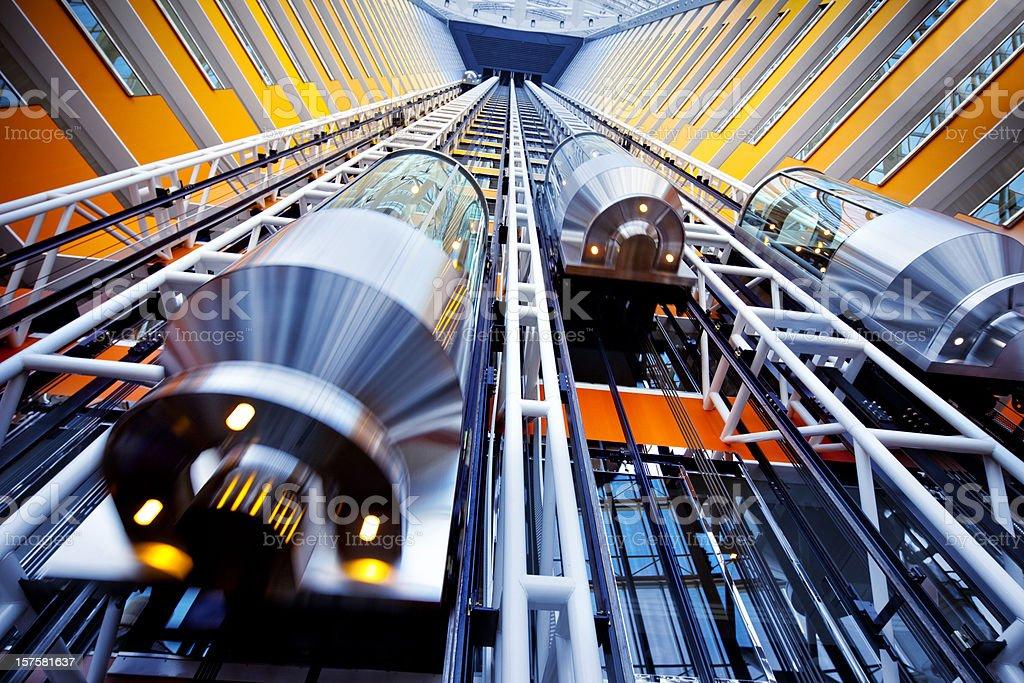 lift in a futuristic building stock photo