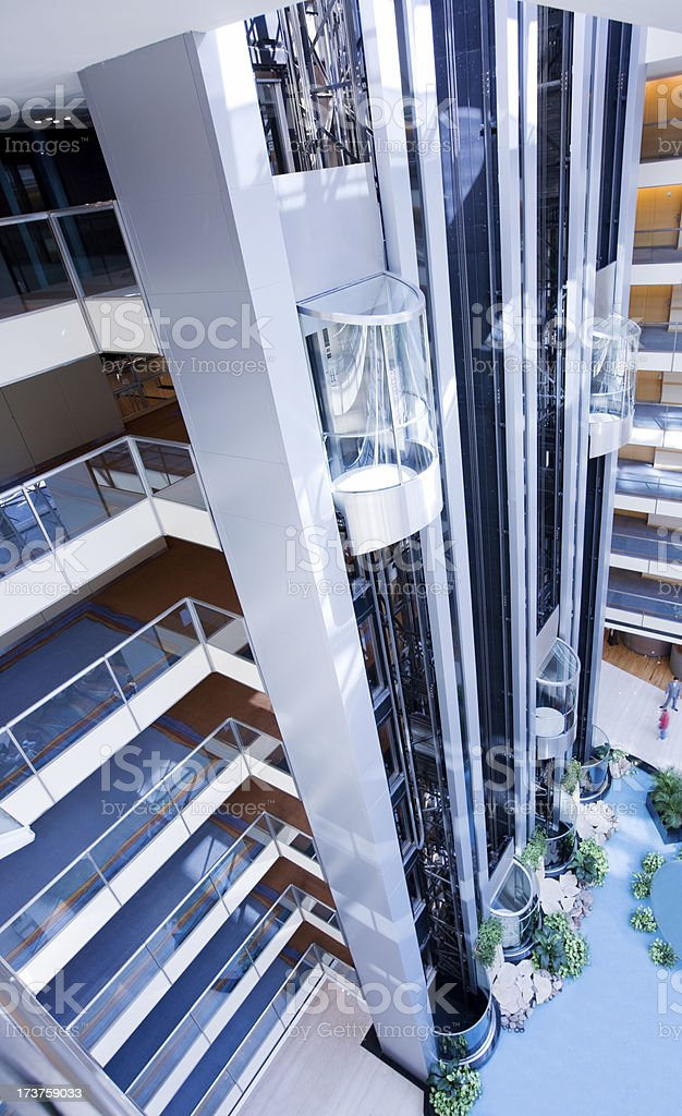 lift in a futuristic building stock photo