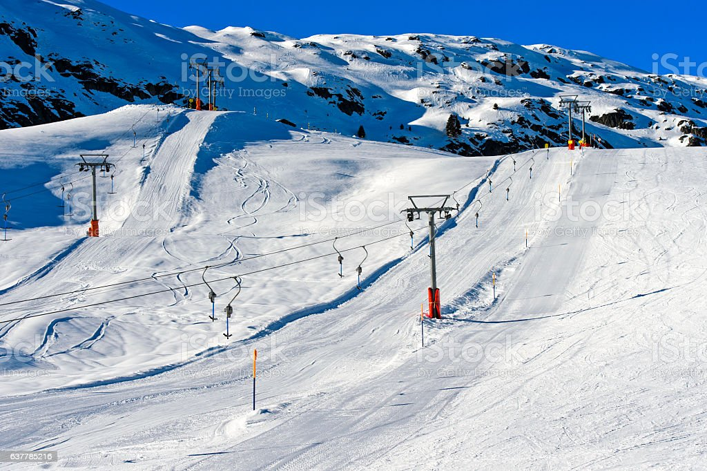 lift installation in a skiing region stock photo