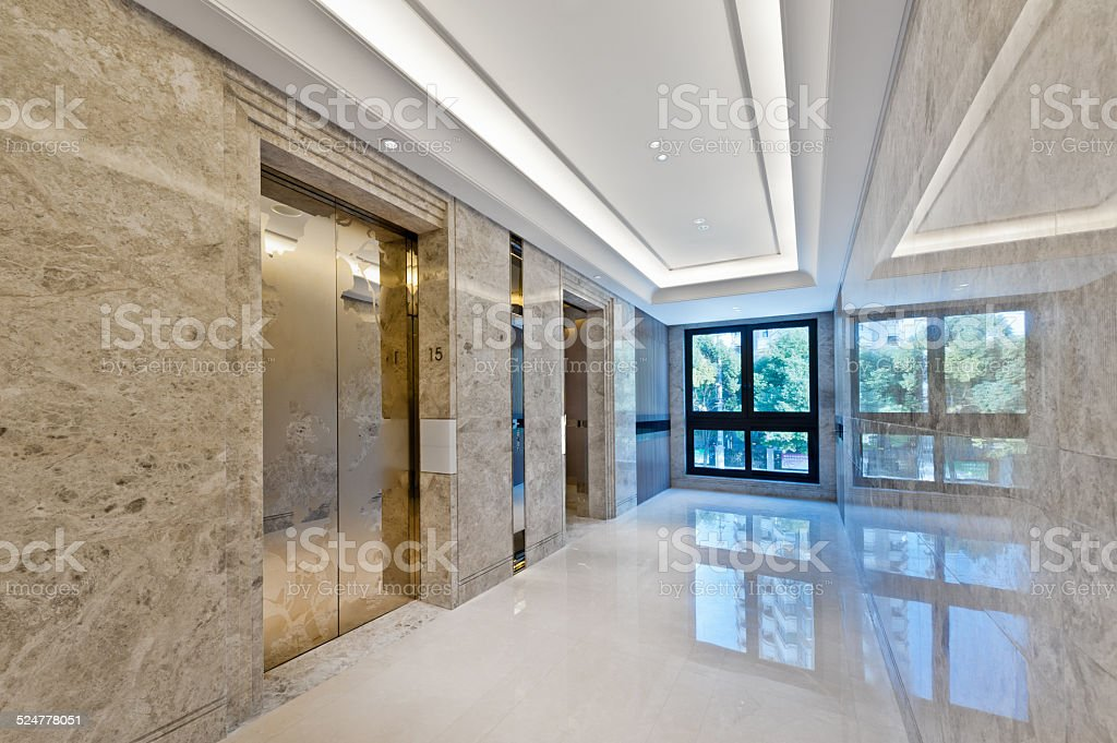 Lift lobby in beautiful marble stock photo