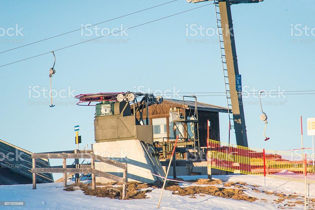 lift on snowy mountain peaks on hintertux at zillertal stock photo