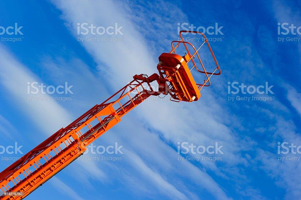 Lift platform with bucket stock photo