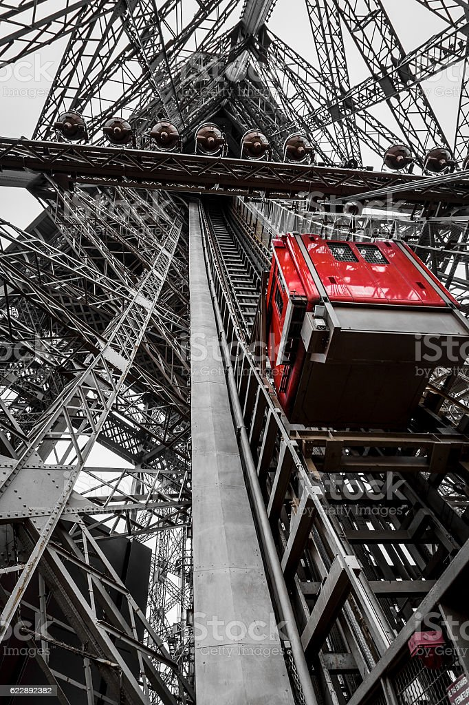 Lift Red Eiffel Tower stock photo