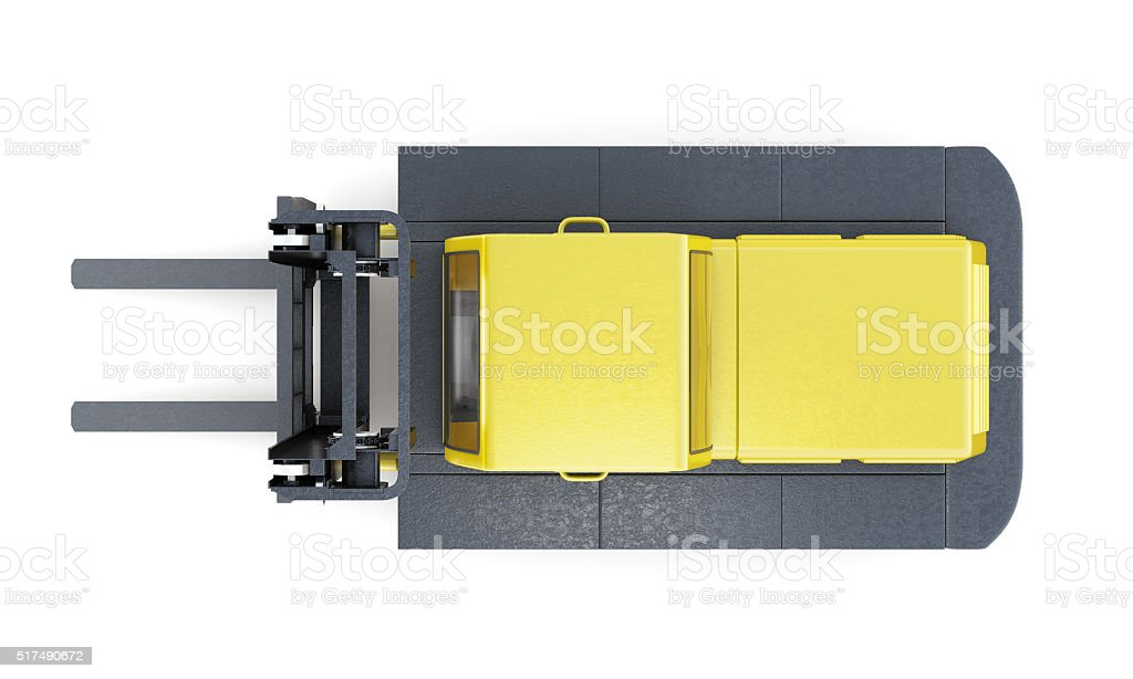 Lift truck, top view, isolated on white background. 3d rendering stock photo
