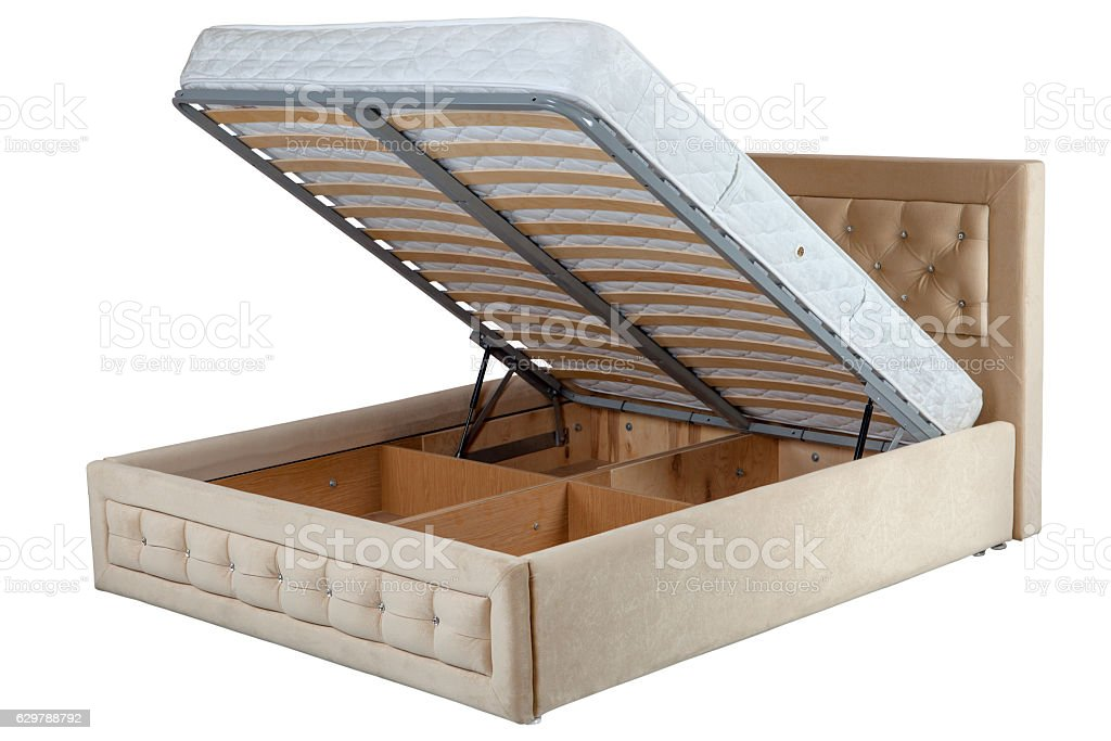 Lift up double bed with storage space, isolated on white. stock photo