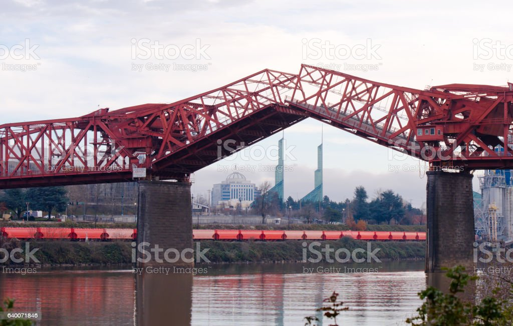 Lifted sections truss Broadway Bridge in Portland stock photo