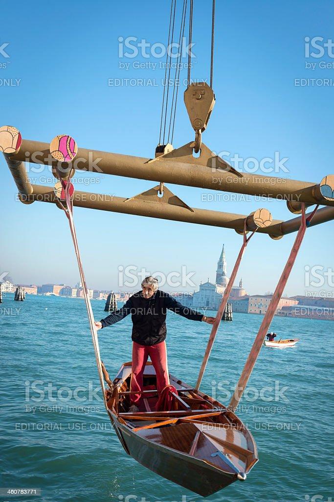 Lifting Boats in Venice, Italy, Europe royalty-free stock photo