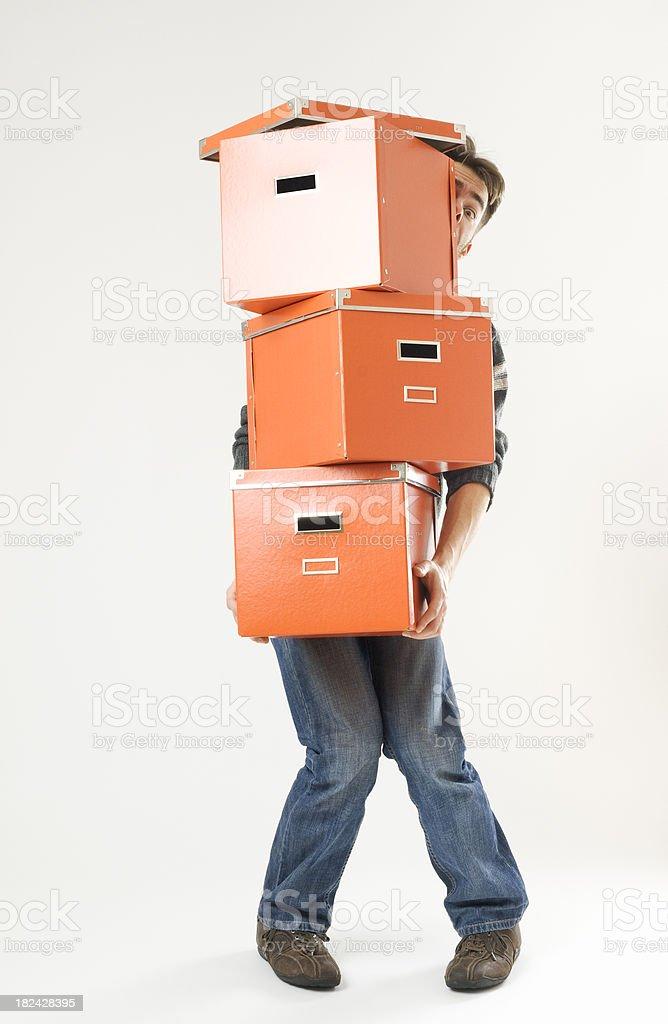 Lifting Boxes royalty-free stock photo