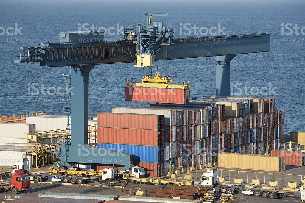 lifting container in port royalty-free stock photo