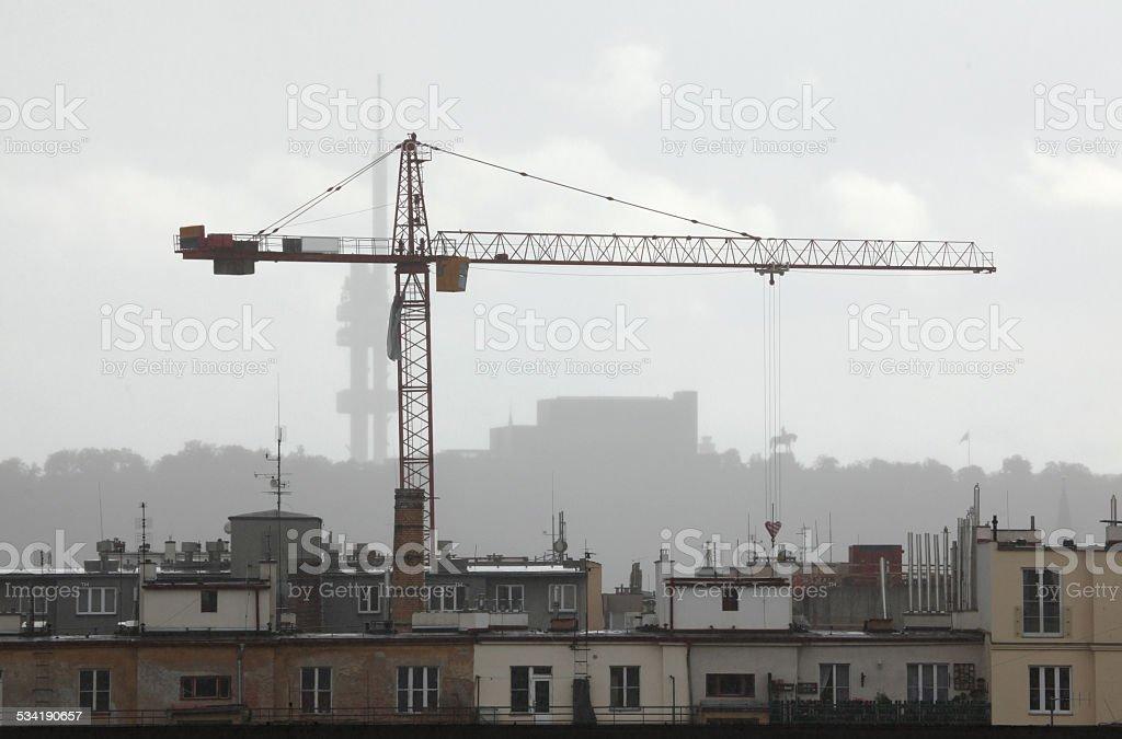 Lifting crane in Prague, Czech Republic. stock photo