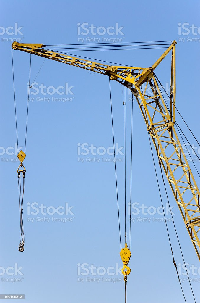 Lifting crane with two hook stock photo