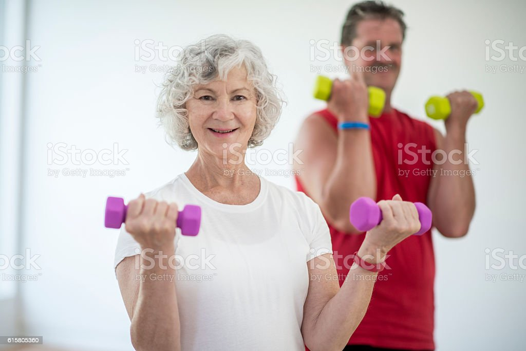 Lifting Free Weights stock photo