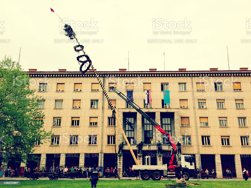 Lifting Maypole in Nova Gorica Europe royalty-free stock photo