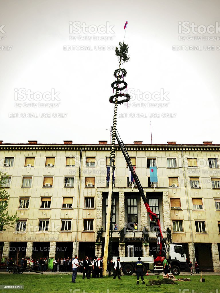 Lifting Maypole in Nova Gorica Slovenia Europe royalty-free stock photo