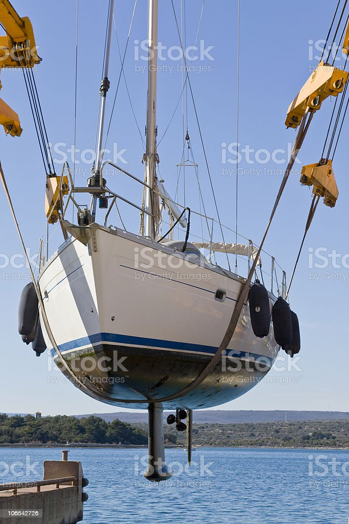 lifting out for refit royalty-free stock photo