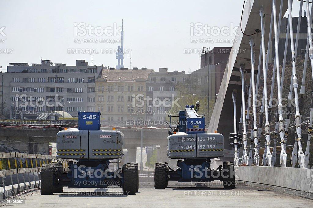 Lifting platforms on Troja bridge royalty-free stock photo