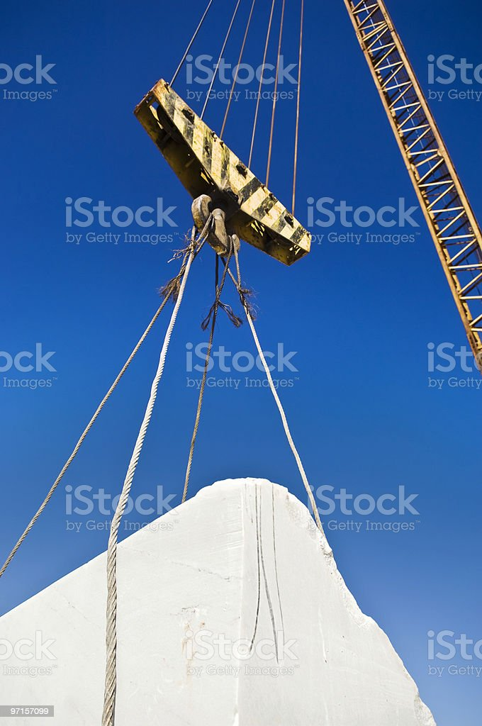 Lifting pulley in a marble quarry stock photo