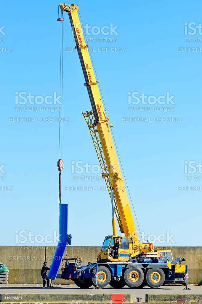 Lifting trawler wing stock photo