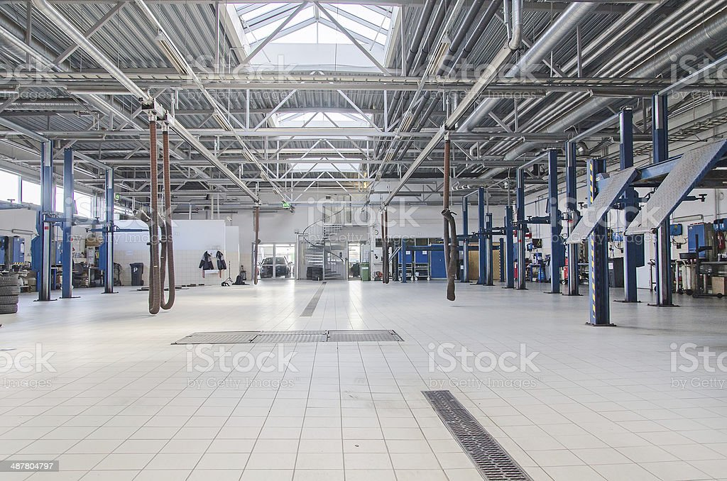 Lifts for cars in service center. stock photo