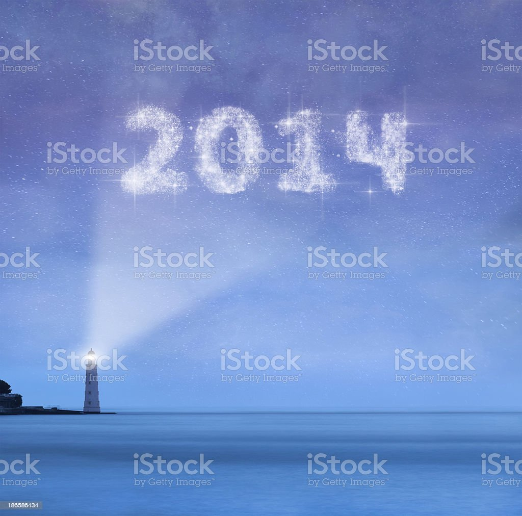 Lighhouse with 2014 new year royalty-free stock photo
